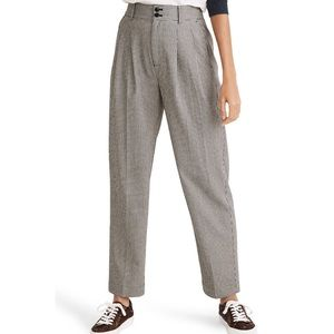 Madewell Mini Houndstooth Pleated Wide Taper Pant